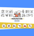 manufacture line icons set vector image vector image
