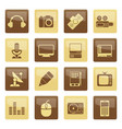 media equipment icons over brown background vector image vector image
