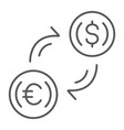 money exchange thin line icon finance and banking vector image
