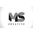 ms logo letter with black lines design line letter vector image vector image
