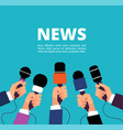 news concept with microphones broadcasting vector image vector image