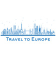 outline famous landmarks in europe london paris vector image vector image