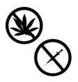 prohibition sign set no drugs and marijuana vector image vector image