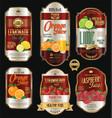 retro vintage golden labels for organic fruit vector image vector image