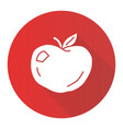 ripe apple red flat design long shadow glyph icon vector image vector image