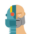 Robots head cyborg and people Iron person and man vector image vector image