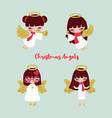 set four little angels vector image