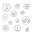 Set of hand drawn badges Outdoor camping tribe vector image