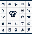 set of love icons simple romance elements vector image