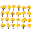 set of twenty four different cartoon yellow trees vector image vector image
