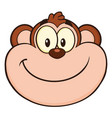 smiling monkey face cartoon character vector image vector image