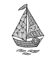 Stylized sailboat zentangle vector image vector image