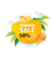 summer sale banner paper cut template yellow vector image vector image