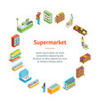 supermarket or shop banner card circle isometric vector image vector image