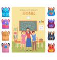 teacher and pupils in classroom school vector image vector image