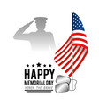 usa flag with military man and stars to memorial vector image