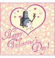 Valentine Greeting Card with Robot vector image vector image