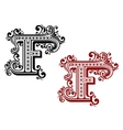 Vintage letter F with decorative elements vector image vector image