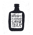 Whiskey bottle and handwritten lettering vector image
