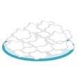Cottage cheese in a plate flat style icon vector image