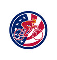 american cyclist cycling usa flag icon vector image vector image