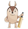 armadillo with cricket bat on white background vector image vector image