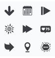 Arrow icons Next navigation signs symbols vector image vector image