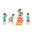 asian teen boy poses set face lifeguard vector image vector image