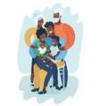 big happy black family vector image