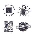 blockchain bitcoin crypto currencies emblems and vector image vector image