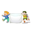 Boys holding cloth vector image vector image