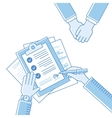 Business man hands holding contract signing of a vector image vector image