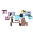 businesswoman chatting with mix race colleagues vector image vector image