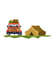 camping and jeep car with baggage tent trip and vector image