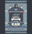 car wash service retro poster of vehicle and brush vector image vector image