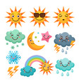 cartoon weather icons set funny pictures isolate vector image