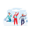 christmas santa claus with happy people vector image vector image