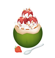 Coconut Ice Cream with Nuts and Strawberry vector image