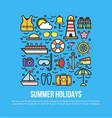 cruise set summer holidays elements in flat vector image
