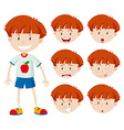 Cute boy with different facial expressions vector image