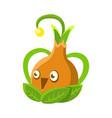 cute fantastic orange plant character shape of a vector image vector image