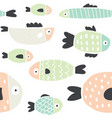 cute handdrawn colorful fish seamless pattern vector image vector image
