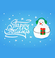 cute snowman in winter fur headphones and a gift vector image vector image