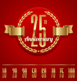 Decorative anniversary golden emblem vector image vector image