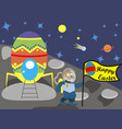 easter bunny on the moon with the flag vector image vector image