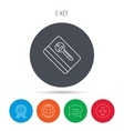 Electronic key icon Hotel room card sign vector image