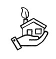 figure hand with house with ecological leaf to vector image vector image