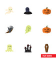 flat icon halloween set of zombie ghost fortress vector image vector image