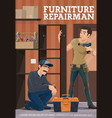 furniture assembling workers woodwork carpentry vector image vector image