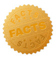 gold facts medal stamp vector image vector image